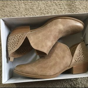 Taupe laser cut booties